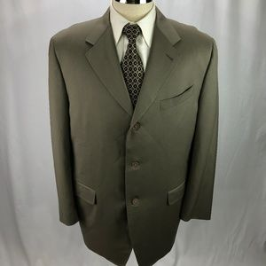 Canali Men's Taupe Green Wool Blazer Jacket 46R